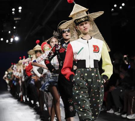 New York, NY, USA - September 7, 2017: Models walk runway for the Desigual SpringSummer 2017 runway show during New York Fashion Week at Skylight Clarkson Sq., Manhattan