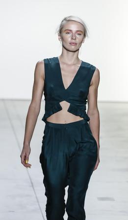New York, NY, USA - September 10, 2017: A model walks runway for the Leanne Marshall SpringSummer 2018 runway show during New York Fashion Week at Skylight Clarkson Sq., Manhattan Editorial