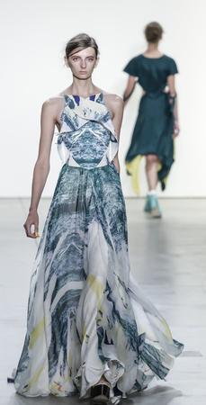 winter fashion: New York, NY, USA - September 10, 2017: A model walks runway for the Leanne Marshall SpringSummer 2018 runway show during New York Fashion Week at Skylight Clarkson Sq., Manhattan Editorial