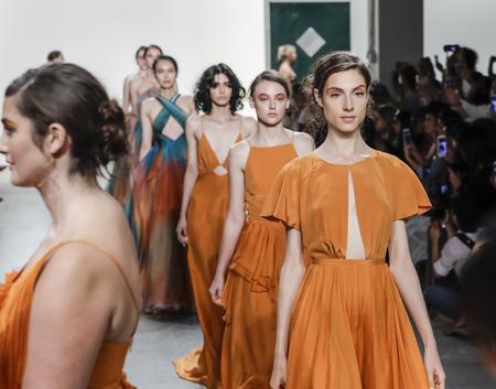 New York, NY, USA - September 10, 2017: Models walk runway for the Leanne Marshall SpringSummer 2018 runway show during New York Fashion Week at Skylight Clarkson Sq., Manhattan