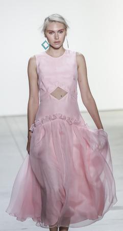 New York, NY, USA - September 10, 2017: A model walks runway for the Leanne Marshall SpringSummer 2018 runway show during New York Fashion Week at Skylight Clarkson Sq., Manhattan Sajtókép