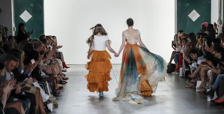 winter fashion: New York, NY, USA - September 10, 2017: Leanne Marshall (L) walks runway for the Leanne Marshall SpringSummer 2018 runway show during New York Fashion Week at Skylight Clarkson Sq., Manhattan Editorial