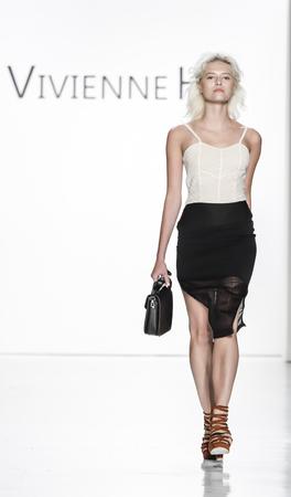 New York, NY, USA - September 10, 2017: A model walks runway for the Vivienne Hu SpringSummer 2018 runway show during New York Fashion Week at Skylight Clarkson Sq., Manhattan Editorial
