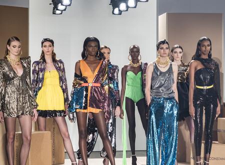 New York, NY, USA - September 6, 2017: Model pose for the Greta Constantine SpringSummer 2018 Presentation during New York Fashion Week at Pier 59 Studios at Chelsea Piers., Manhattan Editorial
