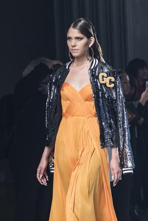 New York, NY, USA - September 6, 2017: A model walks runway for the Greta Constantine SpringSummer 2018 Presentation during New York Fashion Week at Pier 59 Studios at Chelsea Piers., Manhattan