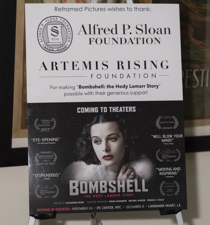 New York, NY, USA - November 20, 2017: Movie Poster for Theatrical opening of BOMBSHELL: THE HEDY LAMARR STORY at Hunter College