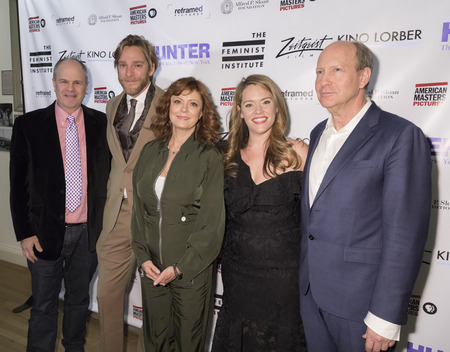 New York, NY, USA - November 20, 2017: (L-R) Michael Cantor, Adam Haggiag, Susan Sarandon, Alexandra Dean and Doron Weber attend Theatrical opening of BOMBSHELL: THE HEDY LAMARR STORY at Hunter Colleg