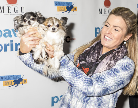 New York, NY, USA - December 19, 2017: Tansy and Corazon at the Paw Prints 1st Annual Paw-liday party screening of 'Best in Show' at IFC center Foto de archivo - 93581647