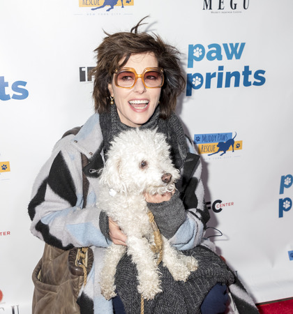 New York, NY, USA - December 19, 2017: Actress Parker Posey with her dog Gracie attend Paw Prints 1st Annual Paw-liday party screening of 'Best in Show' at IFC center