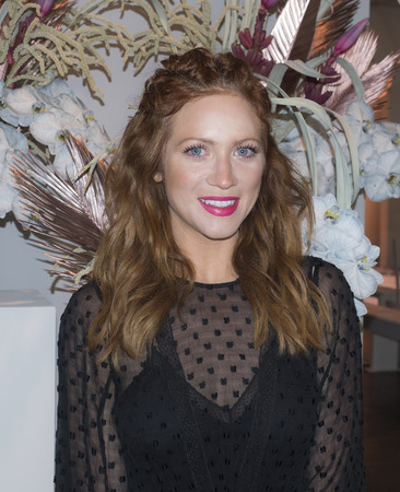 New York, NY, USA - February 10, 2018: Actress Brittany Snow attends alice McCall FallWinter 2018 runway show during New York Fashion Wweek at Industria, Manhattan Editorial