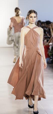 New York, NY, USA - Febbruary 14, 2018: A model walks runway for Leanne Marshall FallWinter 2018 runway show during New York Fashion Week at Spring Studios, Manhattan