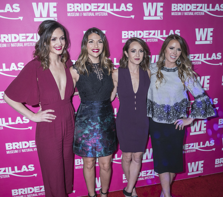 New York, NY, USA - February 22, 2018: Desiree Hartsock, DeAnna Pappas, Ashley Hebert, Trista Sutter attend WE TV Launches Bridezillas Museum Of Natural Hysteria at Arena, Manhattan Editorial