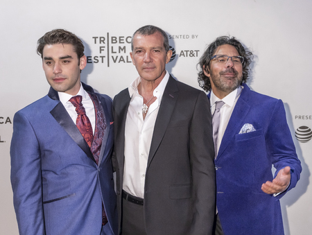 New York, NY, USA - April 20, 2018: Alex Rich, Antonio Banderas, Ken Biller attend screening of 'Genius: Picasso' during the 2018 Tribeca Film Festival at BMCC Tribeca PAC, Manhattan Editorial