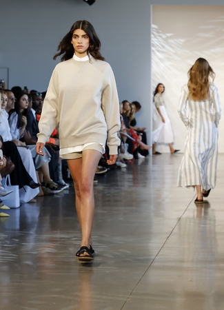 New York, NY, USA - September 6, 2018: A model walks runway for the Noon by Noor SpringSummer 2019 runway show during New York Fashion Week at Spring Studios, Manhattan