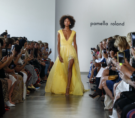 New York, NY, USA - September 6, 2018: A model walks runway for the Pamella Roland SpringSummer 2019 runway show during New York Fashion Week at Pier 59 Studuos, Manhattan