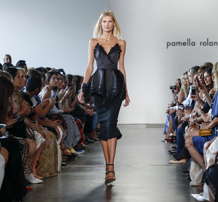 New York, NY, USA - September 6, 2018: A model walks runway for the Pamella Roland SpringSummer 2019 collection during New York Fashion Week at Pier 59 Studuos, Manhattan