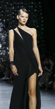 New York, NY, USA - September 11, 2018: A model walks runway for the Naeem Khan SpringSummer 2019 runway show during New York Fashion Week at Spring Studios, Manhattan Editorial