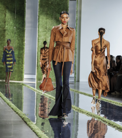 New York, NY, USA - September 7, 2018: A model walks runway to represent Cushnie Spring/Summer 2019 collection during New York Fashion  at Spring Studios, Manhattan