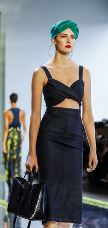 New York, NY, USA - September 7, 2018: A model walks runway to represent Cushnie SpringSummer 2019 collection during New York Fashion  at Spring Studios, Manhattan