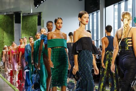 New York, NY, USA - September 7, 2018: Models walk runway for the Cushnie Spring/Summer 2019 runway show during New York Fashion  at Spring Studios, Manhattan