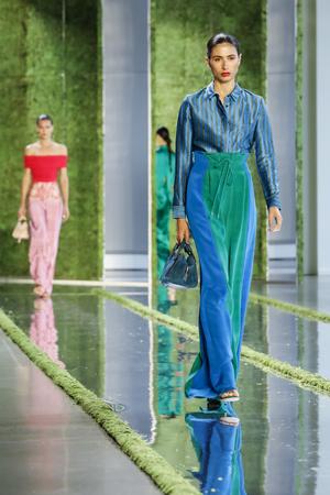 New York, NY, USA - September 7, 2018: A model walks runway to represent Cushnie SpringSummer 2019 collection during New York Fashion  at Spring Studios, Manhattan