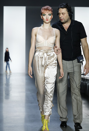 New York, NY, USA - September 11, 2018: A model walks runway rehearsal for Dan Liu Spring/Summer 2019 collection during New York Fashion Week at Spring Studios, Manhattan