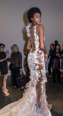 New York, NY, USA - October 6, 2018: Model shows up dresses for Atelier Pronovians 2019 Presentation during New York Bridal Week at Studio 525, Manhattan. Éditoriale