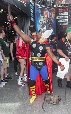 New York, NY, USA - October 5, 2018: Comic Con attendee pose in the costumes during Comic Con 2018 at The Jacob K. Javits Convention Center in New York City.
