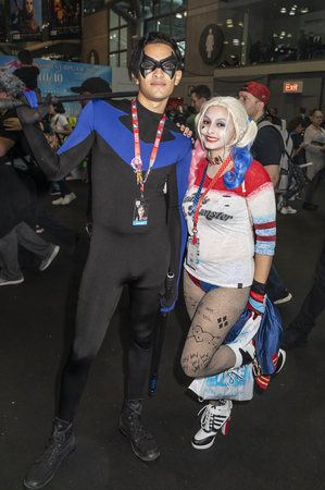 New York, NY, USA - October 4, 2018: Comic Con attendees pose in the costumes during Comic Con 2018 at The Jacob K. Javits Convention Center in New York City. Redakční