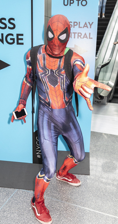 New York, NY, USA - October 4, 2018: Comic Con attendee poses in the costumes during Comic Con 2018 at The Jacob K. Javits Convention Center in New York City.