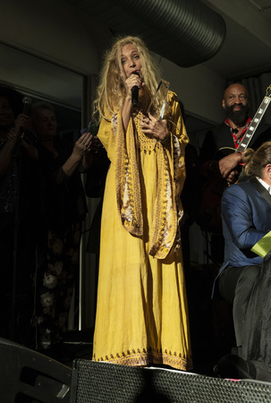 New York, NY - October 13, 2018: Wendy Oxenhorn speaks during tribute to Roberta Flack at Loft Party A Night for the Soul for Jazz Foundation of America at Hudson Studios, Manhattan Editorial