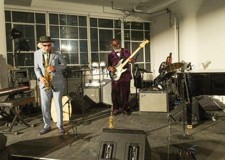 New York, NY - October 13, 2018: Pocket Science quartet with Kahil El'Zabar performs at Loft Party A Night for the Soul for Jazz Foundation of America at Hudson Studios, Manhattan Editorial