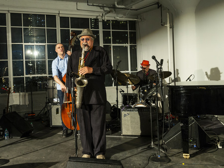 New York, NY - October 13, 2018: Joe Locano Classic Quartet performs at Loft Party A Night for the Soul for Jazz Foundation of America at Hudson Studios, Manhattan Editorial