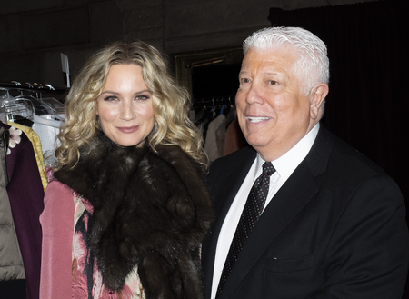New York, NY, USA - February 11, 2019: Jennifer Nettles and Dennis Basso on backstage for Dennis Basso FallWinter 2019 Collection during New York Fashion Week at Cipriani 42nd Street, Manhattan