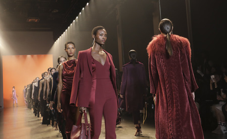 New York, NY, USA - February 8, 2019: Models walk runway for Cushnie FallWinter 2019 collection during New York Fashion at Spring Studios, Manhattan