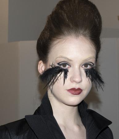 New York, NY, USA - April 12, 2019: A model shows out dress for Francesca Miranda Spring 2020 Presentation during New York Bridal Week at Canoe Studio, Manhattan Фото со стока - 120755870