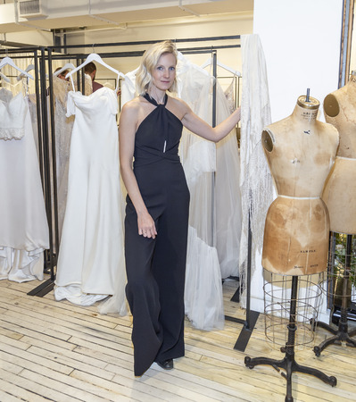 New York, NY, USA - April 13, 2019: Fashion designer Savannah Miller at Spring 2020 Presentation during New York Bridal Week at 43 West 24th Street, Manhattan Redakční
