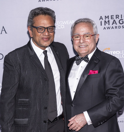 New York, NY, USA - April 15, 2019: Naeem Khan and Rick Helfenbein attend AAFA American Image Awards 2019 at The Plaza, Manhattan Sajtókép