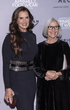 New York, NY, USA - April 15, 2019: Brooke Shields, Eileen Fisher attend AAFA American Image Awards 2019 at The Plaza, Manhattan