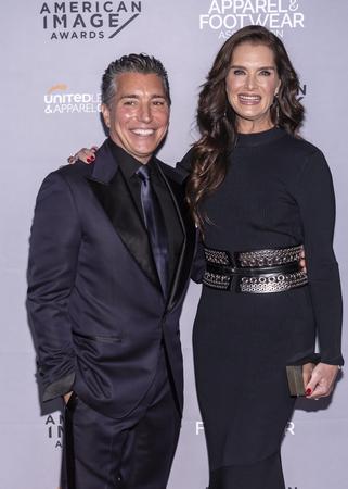 New York, NY, USA - April 15, 2019: Isaac Ash and Brooke Shields attend AAFA American Image Awards 2019 at The Plaza, Manhattan