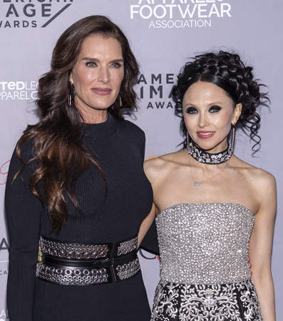 New York, NY, USA - April 15, 2019: Brooke Shields and Stacey Bendet Eisner attends AAFA American Image Awards 2019 at The Plaza, Manhattan