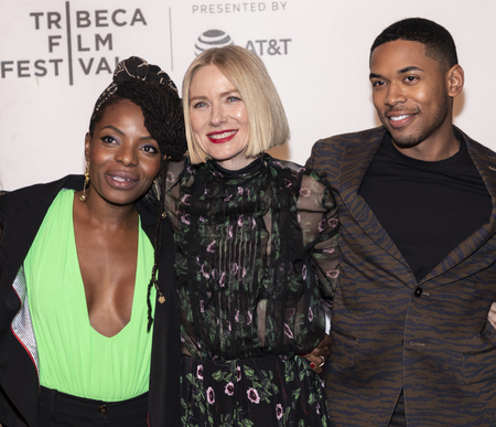 New York, NY, USA - April 28, 2019: Noah Gaynor, Naomi Watts and Kevin Harrison Jr. attend