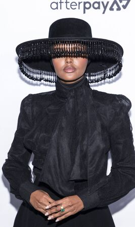 New York, NY, USA - September 5, 2019: Halima Aden wearing Brock Collection, Jimmy Choo shoes and Victoria Hayes hat attends The Daily Front Row 7th Fashion Media Awards at The Rainbow Room at Rockefe
