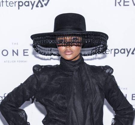 New York, NY, USA - September 5, 2019: Halima Aden wearing Brock Collection, Jimmy Choo shoes and Victoria Hayes hat attends The Daily Front Row 7th Fashion Media Awards at The Rainbow Room at Rockefeller Center