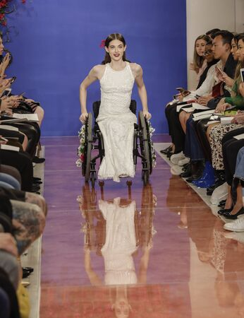 NEW YORK, NY, USA - October 3, 2019: Bri Sclesse on the runway at the Theia Fall 2020 collection during New York Bridal Week at the Theia Showroom, Manhattan