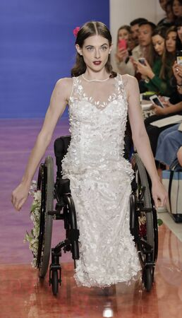 NEW YORK, NY, USA - October 3, 2019:Bri Sclesse on the runway at the Theia Fall 2020 collection during New York Bridal Week at the Theia Showroom, Manhattan