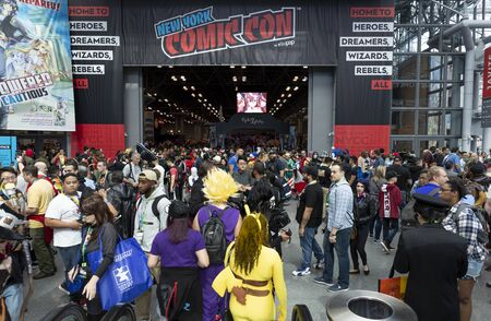 New York, NY, USA - October 4, 2019: General atmosphere on convention floor during Comic Con 2019 at The Jacob K. Javits Convention Center in New York City. The New York Comic Con is an annual New York City fan convention devoted to comics, graphic novels