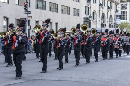 New York, NY, USA - October 14, 2019: Marching bands moves along Fifth Avenue during 75th Annual Columbus Day Parade, Manhattan. The annual Columbus Day parade, the largest celebration of Italian-American heritage and culture in the United States Editorial