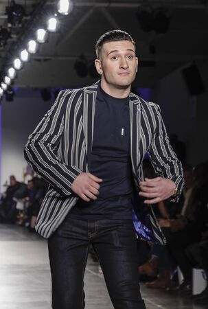 New York, NY, USA - February 5, 2020: Joey Sasso walks Blue Jacket runway in support of mens health and prostate cancer awareness at Pier 59 Studios , Manhattan
