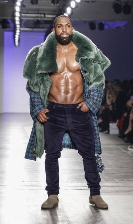 New York, NY, USA - February 5, 2020: Yusuf Myers  walks Blue Jacket runway in support of mens health and prostate cancer awareness at Pier 59 Studios , Manhattan Publikacyjne